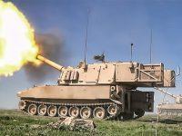 Obús Paladin autopropulsado de 155mm haciendo fuego