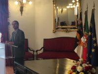 El ministro de Ciencia portugués Manuel Heitor, el día 18 de marzo, anunciando la firma por la que se crea Portugal Space