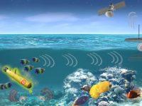 Un sumergible no tripulado perturba a un banco de peces, cambiando los movimientos de un grupo de gambas. Una plataforma de superficie distante, con un conjunto de sensores sumergidos, detecta los movimientos de las gambas e infiere la presencia del robot submarino. Esto luego se transmite a un satélite. (DARPA)