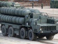 """MOSCOW REGION, RUSSIA - APRIL 5, 2019: S-400 Triumf missile systems during a joint rehearsal by Moscow Garrison detachments and mechanized forces ahead of the 74th anniversary of the Victory over Nazi Germany in the Great Patriotic War of 1941-1945, the Eastern Front of World War II, at Alabino range. Sergei Bobylev/TASS  Ðîññèÿ. Ìîñêîâñêàÿ îáëàñòü. Áîåâûå ðàñ÷åòû çåíèòíîé ðàêåòíîé ñèñòåìû (ÇÐÑ) Ñ-400 """"Òðèóìô"""" íà ïîëèãîíå Àëàáèíî âî âðåìÿ ñîâìåñòíîé ïîäãîòîâêè ïåøèõ ïàðàäíûõ ðàñ÷åòîâ âîéñê Ìîñêîâñêîãî ãàðíèçîíà è ìåõàíèçèðîâàííîé êîëîííû ê ó÷àñòèþ â âîåííîì ïàðàäå, ïîñâÿùåííîì 74-é ãîäîâùèíå Ïîáåäû â Âåëèêîé Îòå÷åñòâåííîé âîéíå. Ñåðãåé Áîáûëåâ/ÒÀÑÑ"""