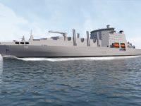 Representación artística de un diseño inicial del buque de apoyo sólido de la flota, que podría cambiar. (Ministerio de Defensa británico)