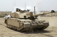 Challenger 2 Main Battle Tank patrolling outside Basra, Iraq