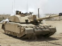 Challenger 2 Main Battle Tank patrolling outside Basra, Iraq